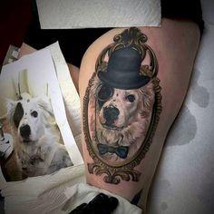 Cool Dog Portrait Tattoo On Leg Thigh Of Male