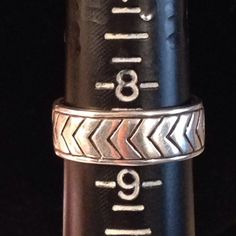 Sterling silver chevron ring Shiny, marked .925.  Chevron pattern size 8.5 EUC. Worn once, too big for me, my loss:( Jewelry Rings