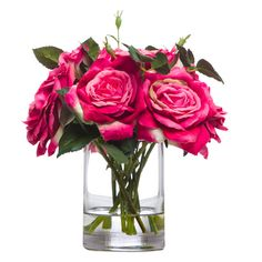 Lux Art Silks Fuschia Pink Rose Faux Flower Arrangement ($106) ❤ liked on Polyvore featuring home, home decor, floral decor, pink silk flowers, silk rose bouquet, rose arrangement, pink fake flowers e rose home decor