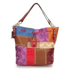 Coach Holiday Stud Red Multi Large Shoulder Bags EBC