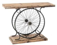 Recycle your cycle - work bench or coffee table? Metal Furniture, Repurposed Furniture, Industrial Furniture, Diy Furniture, Furniture Design, Industrial Style, Bicycle Decor, Bicycle Art, Bicycle Painting