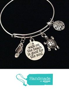 A Walk on the Beach is Good for the Soul Turtle Flip Flops Sand Dollar Expandable Charm Bracelet Adjustable Wire Bangle from Jules Obsession http://www.amazon.com/dp/B01GI96BJ0/ref=hnd_sw_r_pi_dp_imSuxb1EQ8ACT #handmadeatamazon