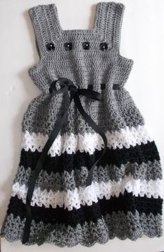 Grey and Black Crochet Girls Dress Mom you should make this!
