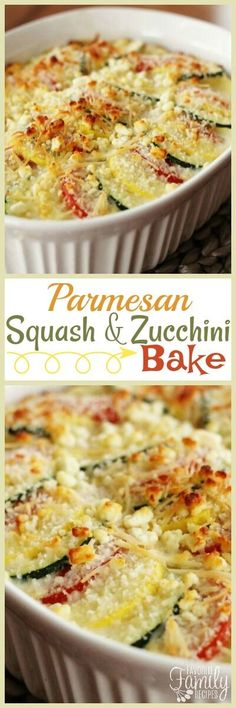 Parmesan Squash and Zucchini Bake is a perfect recipe for squash and zucchini from the garden. The squash is layered and coated with two kinds of cheese. via (Easy Baking Zucchini) Side Dish Recipes, Vegetable Recipes, Vegetarian Recipes, Dinner Recipes, Cooking Recipes, Healthy Recipes, Vegetarian Appetizers, Vegetarian Tapas, Tapas Recipes