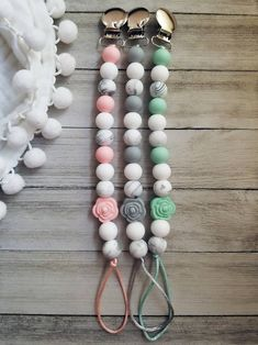 Marble Rose Silicone Pacifier Clip/ Silicone Beads/ Marble Rose Beads/ Paci Clip/Binky Clip/ Pacifier Holder/Pacifier Clip/ Baby Shower Gift