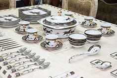 Buy Royal Porcelain Greek Key Horse Cheval 75-pc Large Dinner and Sushi set, Service for 6, Vintage Luxury dinnerware banquet set in a case - Topvintagestyle.com ✓ FREE DELIVERY possible on eligible purchases