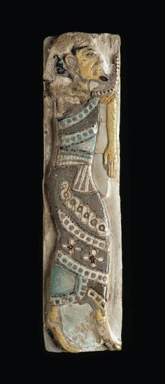 Polychrome faience tile depicting a Syrian chief. New Kingdom. 20th dynasty. Reign of Ramesses III. 1184 - 1153 B.C.   Museum of Fine Arts, Boston