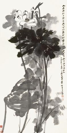 Zhang Daqian (Chang Dai-chien, 1899-1983), INK LOTUS, 1974, ink on paper, 136.5 x 69.7 cm