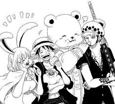 Monkey D Luffy Trafalgar D Water Law Bepo Carrot One Piece One Piece X, Sanji One Piece, One Piece Drawing, One Piece World, One Piece Comic, One Piece Fanart, Manga Anime One Piece, Anime Manga, Anime Art