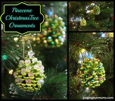 Cute Kid's Christmas Craft - Beaded Pinecone Christmas Tree Ornament.