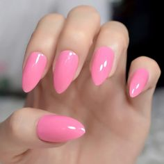 Matte Solid Pure White Stiletto Fake Nails Almond Pointed Press on Oval Lilywhite Frosted False Nail Full Cover Faux Ongles Red Manicure, Gel Nails, Normal Models, Peach Nails, Nail Length, Elegant Nails, Nail Set, Artificial Nails, Press On Nails
