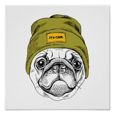 Find Portrait Pug Hipster Hat Vector Illustration stock images in HD and millions of other royalty-free stock photos, illustrations and vectors in the Shutterstock collection. Hipster Hat, Black Pug Puppies, French Bulldog Art, Pug Art, Bullen, Dibujos Cute, Pug Love, Cool Posters, Pug Dogs