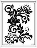 """A whimsical, art nouveau, floral design of flowers, swirls and dots. Stencil is approximately 5-1/2"""" X 4-1/4"""". High quality, precision, stainless steel stencils manufactured in China from designs copyright by Lynell Harlow and Stampendous. They work great with our 2 1/2"""" Tear-ific Tapes, Adhesive Sheets & Sticker Paper. You can use them with SNS Glitter, Flocking and Embossing Powders. We also carry different colors of foil also. When applying stencil to adhesive like tape or sticker paper use H Free Stencils, Stencil Templates, Stencil Patterns, Stencil Painting, Stencil Designs, Sticker Paper, Stickers, Bee Creative, Acrylic Painting Lessons"""