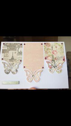 Handmade Birthday card Paris butterflies