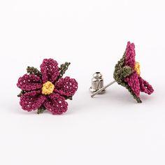 İğne Oyası Çiçek Küpe Pembe