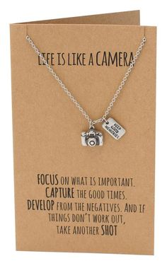 Ida Life is Like a Camera Pendant Necklace, Inspirational Quote on Greeting Card, Vintage Camera Pendant, Graduation Gift, Greeting Card with Jewelry - Quan Jewelry - 2