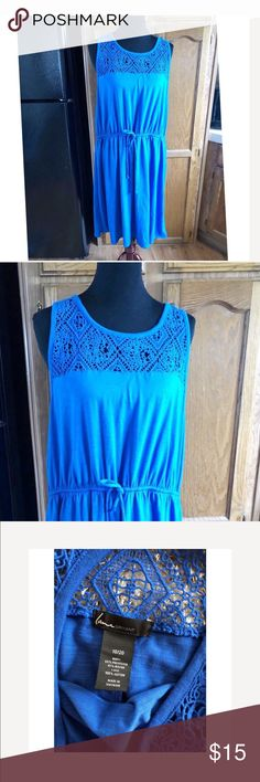 Lane Bryant Blue Dress 18/20 Lane Bryant dress.  Blue color.  Tshirt Knit.  Drawstring waist.  Crochet lace accent at shoulders.  Size 18/20.  Dress is 42 inches long.   Good condition.  Important:   All items are freshly laundered as applicable prior to shipping (new items and shoes excluded).  Not all my items are from pet/smoke free homes.  Price is reduced to reflect this!   Thank you for looking! Lane Bryant Dresses Midi