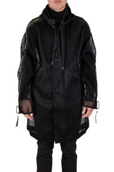 Big Zipper Net Hoodie Jacket-Black | Kokon to Zai
