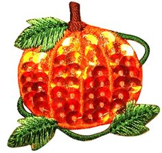 "[Single Count] Custom and Unique (1 3/4"" Inches) Seasonal Vegetable Fall Autumn Sequin Pumpkin Iron On Embroidered Applique Patch {Orange, Green, and Brown Colors} mySimple Products http://www.amazon.com/dp/B014TRF3FG/ref=cm_sw_r_pi_dp_zDcKwb0DZK89Y"