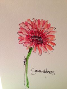 Gerber Daisy Watercolor Card by gardenblooms on Etsy, $3.50