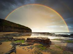 Double rainbow over Wombarra beach, New South Wales.