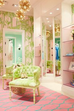 Room decor, pink green, blue, dream room, fashion