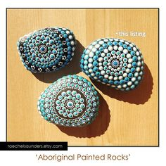 * Aboriginal Painted Stone, Dot Art, Acrylic Painting, blue decor, ornament or paper weight    This is an original artwork hand painted in