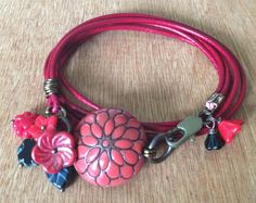Red Scarlet and Jet Black Genuine Leather and by FloatingVintage, £18.00
