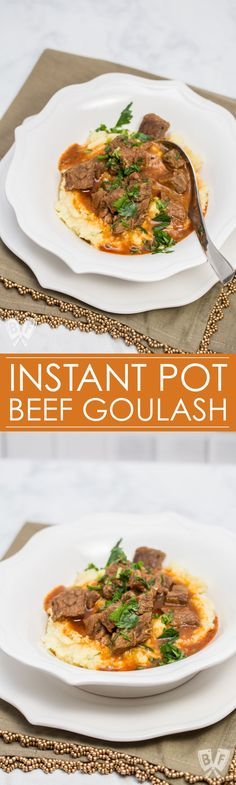 This easy beef goulash recipe has been in my family for at least 6 generations now. I finally sat down with my stepmom to measure out the ingredients and convert it into an Instant Pot recipe. Perfect served over mashed potatoes for an easy weeknight comfort food dinner. #InstantPot #InstantPotRecipes #sundaysupper #familydinner #comfortfood #6ingredientrecipe #beefitswhatsfordinner #sundaydinner #weeknightcooking #meatandpotatoes