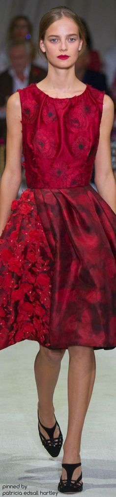Burgundy floral print. Oscar de la Renta ~ Crimson Red Embellished Dress, Spring 2016