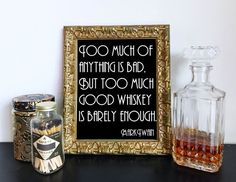 Too much of anything is bad, but too much good whiskey is barely enough. Mark Twain  Frame this retro sign for a 20s party, Wedding Cigar Bar, bachelor party or bar cart.  This listing is for an INSTANT DOWNLOAD, no physical print will be mailed to you. You will receive 8 x 10 and 5 x 7 printable PDF and JPEG files. They can be printed at home or any print shop.  Once you purchase you will receive an email containing your download link or can download right from your account purchases. This…