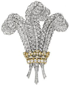 The Prince of Wales Brooch – Designed in by the then-Prince of Wales for his future bride, the American divorcé Wallis Simpson. a plume-shaped diamond brooch was sold to Elizabeth Taylor, who was a close friend of the Duchess and Duke of Windsor. Wallis Simpson, Royal Jewelry, Fine Jewelry, Silver Jewelry, Windsor, Elizabeth Taylor Schmuck, Bling Bling, Antique Jewelry, Vintage Jewelry