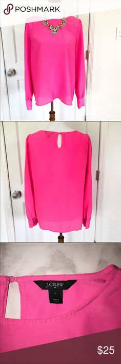 J.Crew factory pink long sleeve blouse Super fun bright pink blouse. Key hole button closure on back. Size large. Reasonable offers welcome but no trades or off site selling. Thank you. J. Crew Factory Tops Blouses