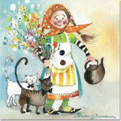 Image detail for -tiedot etusivu postikortit minna immonen virpoja minna immonen 11 13 Here Kitty Kitty, Fantasy Artwork, Children's Book Illustration, Christmas Art, Cat Art, Vintage Posters, Illustrators, Book Art, Painting