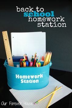 Our Forever House: Back to School: Homework Station Homework Caddy, Homework Area, Homework Organization, Homework Station, Kids Homework, Diy Back To School, Diy School, Green School, Kid Desk