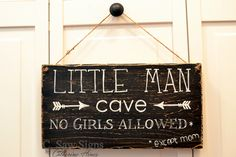 Little Man Cave | No Girls Allowed | Hand painted, rustic wooden sign | Nursery sign Bedroom Signs, Nursery Signs, Navy Nursery, Nursery Room, Baby Boy Rooms, Baby Boy Nurseries, Rustic Signs, Wooden Signs, Rustic Man Cave