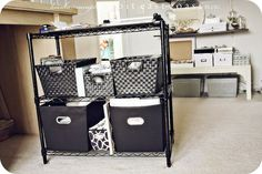 what about using a cart for current projects that slides out     table top storage tall enough for 2 carts-school & scrapbook
