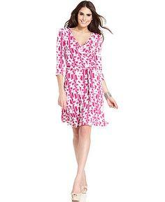 AGB Dress, Three-Quarter-Sleeve Printed Faux-Wrap - Dresses - Women - Macys
