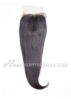 "#1B Lace Closure Indian Remy Hair 4X4"" Yaki [CI18]"