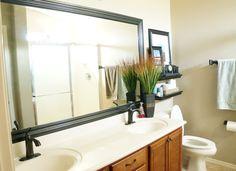 How to Frame a Bathroom Mirror #DIY #Tutorial