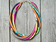SUMMER colorful necklace statement necklace braided by Zojanka