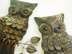 Vintage Retro Metal Owls Wall Hanging Art