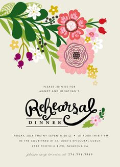 Secret Garden rehearsal dinner invite.