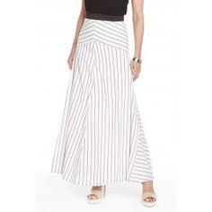 Stripe Print A-Line Maxi Skirt