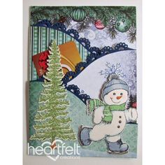 Heartfelt Creations - Skating Snowman Pocket Gift Card Project