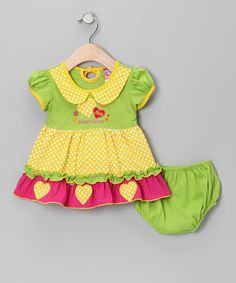 Green 'Sweetheart' A-Line Dress & Diaper Cover - Infant by Lele for Kids