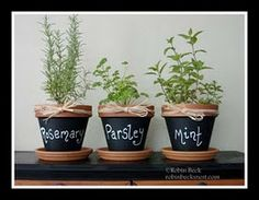 Someday I will be grown up enough to have an herb garden! :) Love this idea for chalkboard paint.