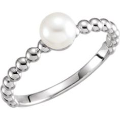 6469 / 14kt White / Mounting / Polished / Solitaire Pearl Ring Mounting