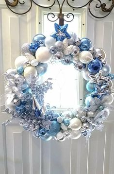 COOL White Blues--Winter Themed Ornament Wreath!