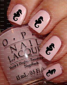 Black Seahorse nail art nail water decals nail transfers nail wraps on Etsy, 1,87€
